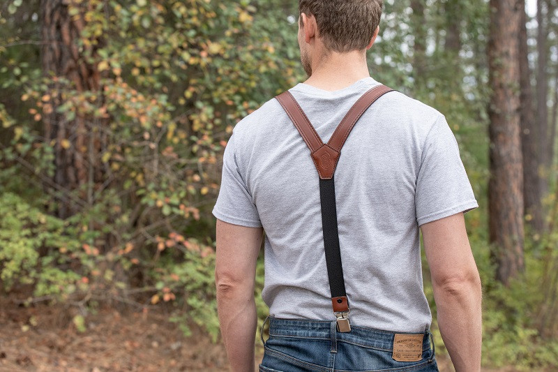secure brown leather suspenders for men