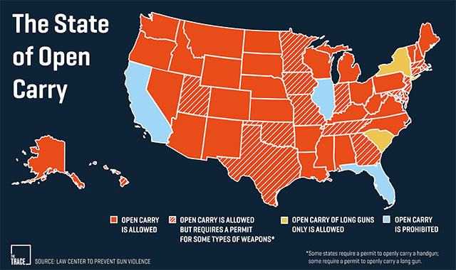 States and their open carry laws