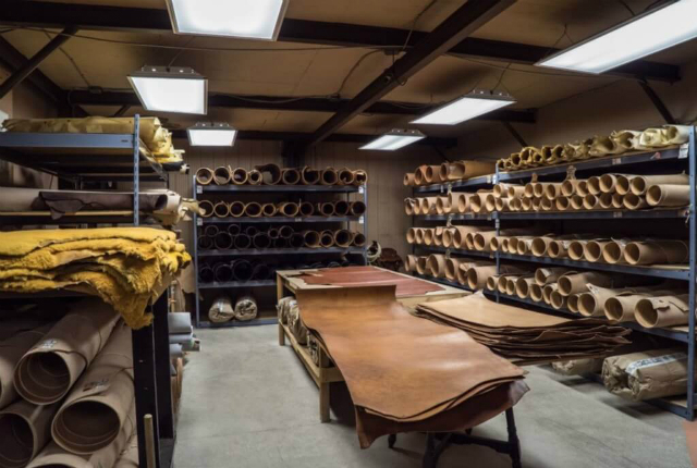 Room full of different types of leather