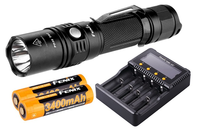 A flashlight and some batteries