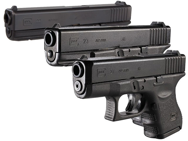 Glock 22, Glock 23, and Glock 27 used by the FBI