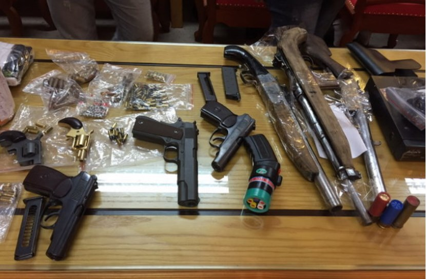 Seized illegal firearms