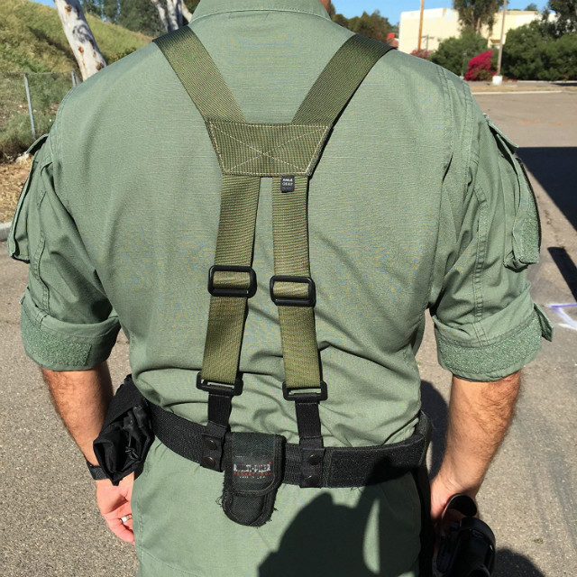 Military style belt and suspenders