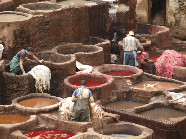 What a leather tannery looks like